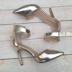 Breckelles gold ankle strap heels